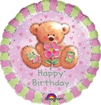 18 inch Teddy Bear Happy Birthday Balloon