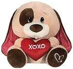 Floppy-eared Light Brown Sitting Dog Holding Red XOXO Heart