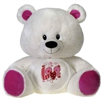 26 inch Sitting White Bear with Embroidered Love