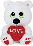 10 inch White Sitting Bear with Red LOVE Heart