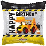 18 inch Happy Birthday Under Construction foil balloon