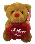 6in BROWN Bear - Holding I Love You Heart