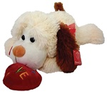 15 inch IVORY Lying Down Dog with with Red Embroidered LOVE Heart