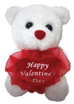 6in WHITE Bear - Holding Happy Valentine's Day Heart