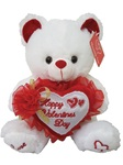 9in WHITE BEAR - Holding Happy Valentine's Day Embroidered Heart with Flower Bow
