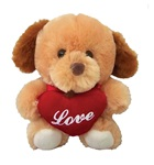 6in BROWN Dog - Holding Love Heart