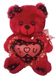 9 inch RED Bear with Red Embroidered I Love You Heart