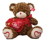 16 inch BROWN Bear with Red Embroidered Heart