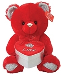 15 inch RED Bear with Silver and RED Embroidered Heart Box
