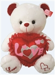 20 inch White Bear with Sequined Love Heart