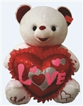 24 inch White Bear with Sequined Love Heart