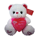 9 inch White Bear Holding Happy Mother's Day Pink Heart