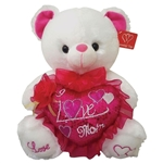 17 inch White Bear with Sequined I Love Mom Heart
