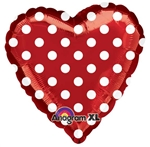 18 inch Red with White Polka Dots Heart Shape Heart Shape