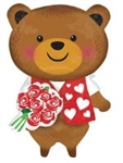 29 inch Bear With Roses SuperShape