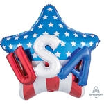 28 inch USA on Stars & Stripes foil patriotic balloon.