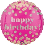 18 inch Holographic Happy Birthday DottyBalloon