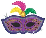 34 inch Mardi Gras Feather Mask
