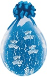 18 inch Qualatex Round HAPPY BIRTHDAY-A-Round DIAMOND CLEAR Stuffing Balloon