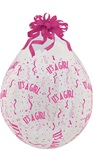 18 inch Qualatex Round IT'S A GIRL-A-Round DIAMOND CLEAR Stuffing Balloon