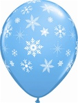 11 inch Snowflakes & Sparkles -A-Round Latex Balloons