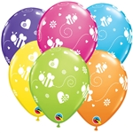 11 inch Qualatex Bees & Hearts on Tropical Assortment latex balloon