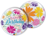 22 inch BUBBLES Happy Birthday Flowers & Filigree