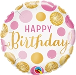 18 inch Happy Birthday Pink & Gold Dots