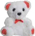 4in WHITE Bear with RED Accents