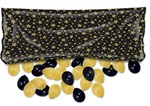 80in x 36in Black Plastic Balloon Drop Bag with GOLD Stars