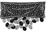 80in x 36in Black Plastic Balloon Drop Bag with SILVER Stars