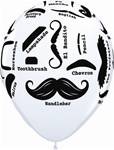 11 inch Qualatex Mustache Styles on White