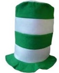 Green and White Stovepipe Hat