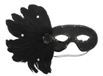 BLACK Feather Mask with Sequins