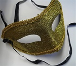 GOLD Glittered Half Mask with Gold Trim