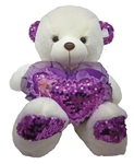 BEIGE Bear with Purple Sequined Heart