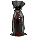 BLACK Sheer Organza Bottle Bag with Satin Draw Cord