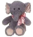 15 inch Cuddle Elephant with Pink Ribbon