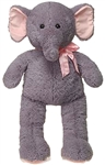 32 inch Gray Cuddle Elephant with Pink Ribbon