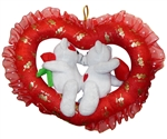 15 inch White Bear Couple with LOVE Heart  in Open Red Heart