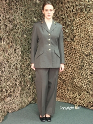 "1988 dated, US Army, ""Coat, Woman's, Poly/Wool Serge, AG-344,"" belonging to a Woman, Specialist 4 (""E-4""), serving in the Medical Corps., of the 82nd Airborne Division"