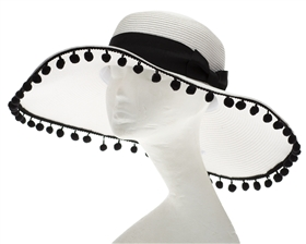 Wholesale Pom Pom Floppy Hats - White