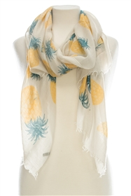Wholesale Cotton Summer Scarves - Pineapple