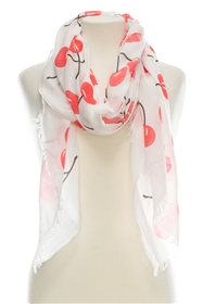 Wholesale Cotton Summer Scarves - Cherries