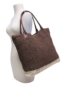 wholesale natural straw beach totes with pu handles