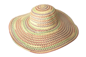 Straw and Mesh Wide Brim Hat