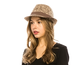 wholesale spotted 2-tone knit fedora
