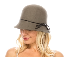 wholesale wool felt cloche w leather tie