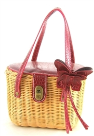 Wholesale Womens Straw Purse with Butterfly