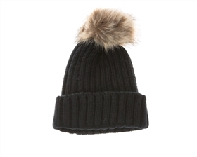 wholesale fur pom rib knit beanies